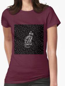 Cute Cat Typography Black White Polka Dots  T-Shirt