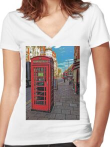 English Red Phone Box Women's Fitted V-Neck T-Shirt