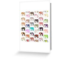 Girly Whimsical Retro Floral Elephants Pattern Greeting Card