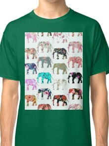 Girly Whimsical Retro Floral Elephants Pattern Classic T-Shirt