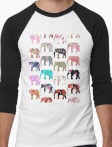 Girly Whimsical Retro Floral Elephants Pattern Men's Baseball ¾ T-Shirt