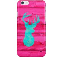 Hipster Teal Blue deer head Hot Pink Vintage Wood iPhone Case/Skin