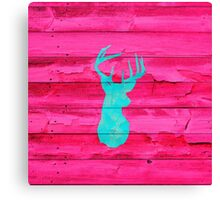 Hipster Teal Blue deer head Hot Pink Vintage Wood Canvas Print