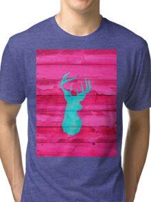 Hipster Teal Blue deer head Hot Pink Vintage Wood Tri-blend T-Shirt
