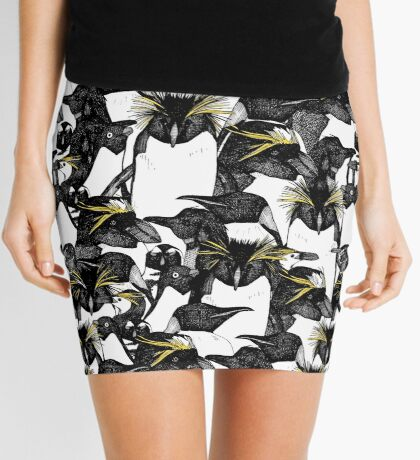 just penguins black white yellow Mini Skirt