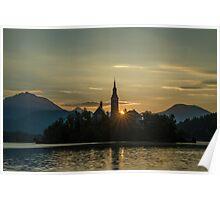 Lake Bled at Sunrise Poster