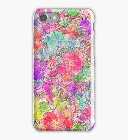 Bright Pink Red Watercolor Floral Drawing Sketch iPhone Case/Skin