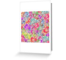 Bright Pink Red Watercolor Floral Drawing Sketch Greeting Card