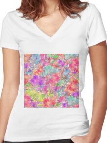 Bright Pink Red Watercolor Floral Drawing Sketch Women's Fitted V-Neck T-Shirt