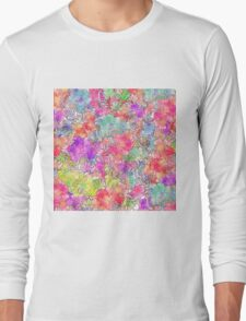 Bright Pink Red Watercolor Floral Drawing Sketch Long Sleeve T-Shirt