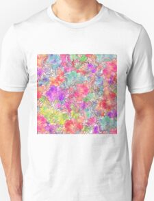 Bright Pink Red Watercolor Floral Drawing Sketch T-Shirt