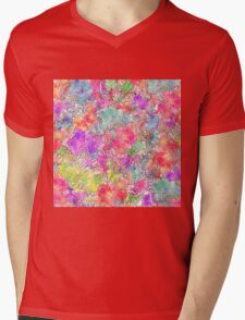 Bright Pink Red Watercolor Floral Drawing Sketch Mens V-Neck T-Shirt