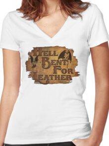 Hell Bent For Leather Women's Fitted V-Neck T-Shirt