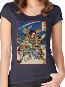 Two Samurai warriors in close combat Women's Fitted Scoop T-Shirt