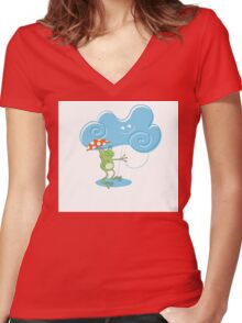 Card with a frog. Women's Fitted V-Neck T-Shirt