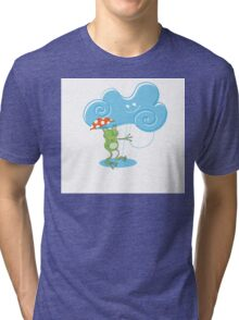 Card with a frog. Tri-blend T-Shirt