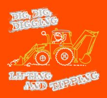 Dig, Dig, Digging tractor construction graphic Kids Clothes