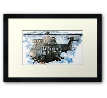 Helicopter Gunship with background  Framed Print