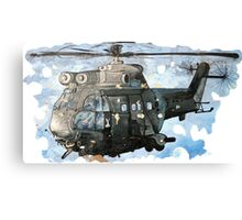 Helicopter Gunship with background  Canvas Print