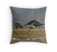 Turkeys Feeding Throw Pillow