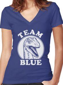 Team Blue Raptor Women's Fitted V-Neck T-Shirt