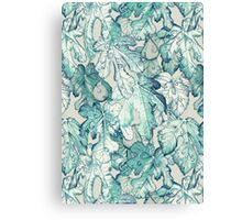 Fig Leaf Fancy - a pattern in teal and grey Canvas Print