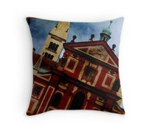 Red Walled Throw Pillow
