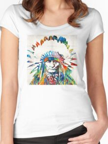 Native American Art - Chief - By Sharon Cummings Women's Fitted Scoop T-Shirt