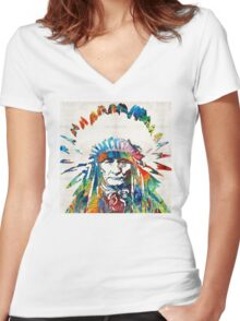 Native American Art - Chief - By Sharon Cummings Women's Fitted V-Neck T-Shirt