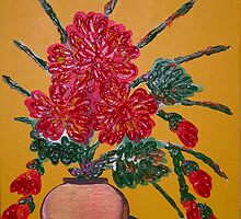 Red Mums Impasto by YogiGray