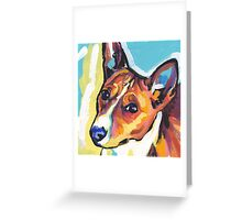 Basenji Bright colorful pop dog art Greeting Card