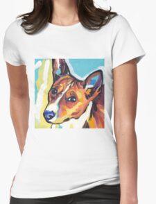 Basenji Bright colorful pop dog art Womens Fitted T-Shirt