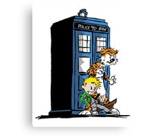 Calvin and Hobbes Doctor Who Style Canvas Print