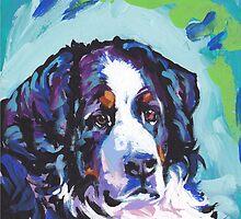 Bernese Mountain Dog Bright colorful pop dog art by bentnotbroken11