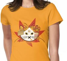 Autumn-leaf Cat Womens Fitted T-Shirt