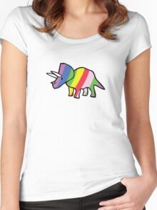Rainbow Triceratops Women's Fitted Scoop T-Shirt