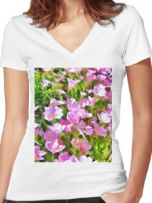 Garden Flowers Women's Fitted V-Neck T-Shirt