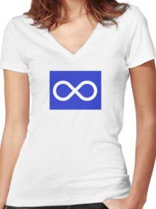 Blue Métis Flag Women's Fitted V-Neck T-Shirt