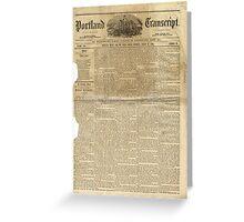 (PAGE 1) PORTLAND TRANSCRIPT, AUG.27, 1853 Greeting Card