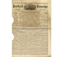 (PAGE 1) PORTLAND TRANSCRIPT, AUG.27, 1853 Photographic Print