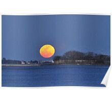 Moon Rise Over Castle Pinckney, Charleston, SC, USA Poster