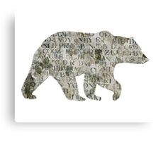 Bear silhouette, letters Canvas Print