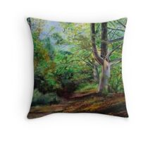 Sussex woodland ,below Chanctonbury Ring Throw Pillow