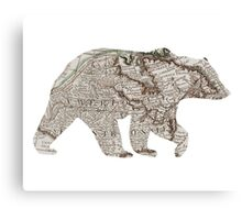 Bear silhouette, old map Canvas Print
