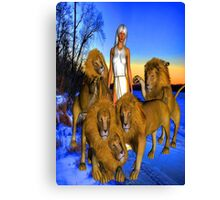 Lions in Winter Canvas Print