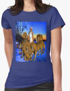 Lions in Winter Womens Fitted T-Shirt