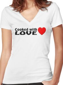 Cooked with love Women's Fitted V-Neck T-Shirt