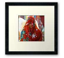 Beauty behind the Red Veil  Framed Print