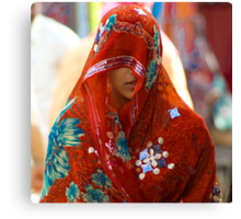 Beauty behind the Red Veil  Canvas Print