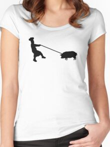 Chef and pig Women's Fitted Scoop T-Shirt